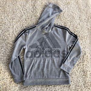 Adidas Gray Logo Hooded Sweatshirt Stripes '20 EUC